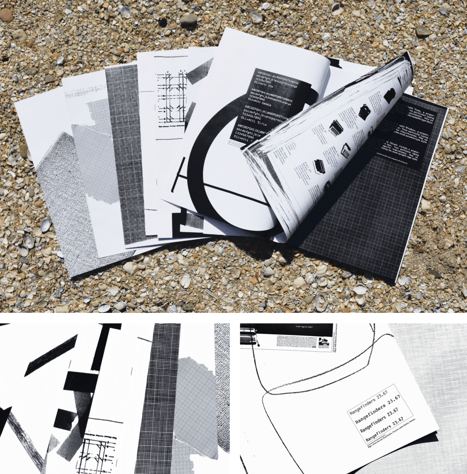 A series of typographic zines containing a visual research inspired by typewriter fonts designed for the Italian typewriter brand Olivetti. 2018.