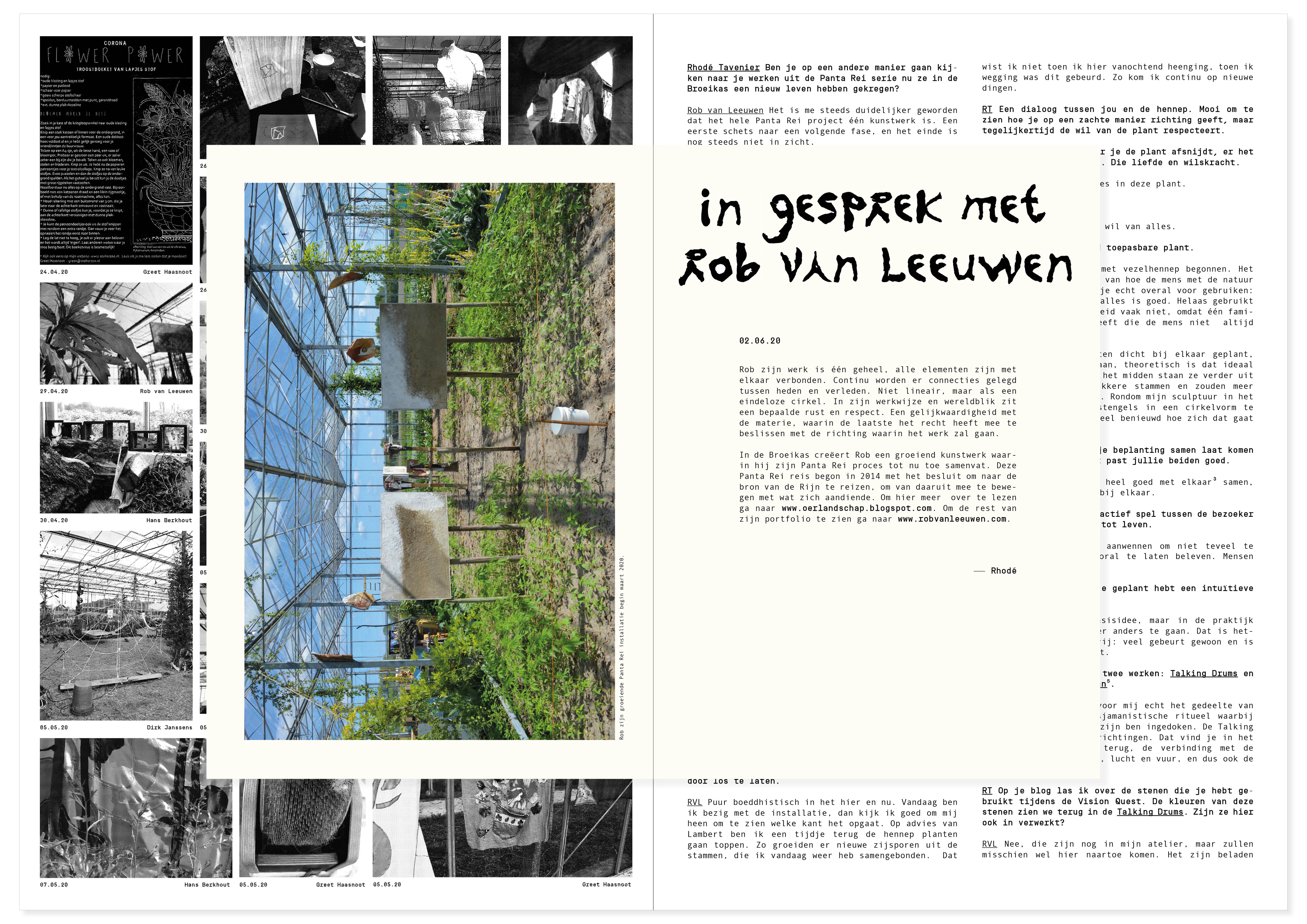 """For the first season in """"Het Broeikaseffect"""" / """"The Greenhouse Effect"""" I designed a publication. It contains a visual logbook which shows the growth and developments in the greenhouse. I've interviewed 3 artists about their working process. Concept in collaboration with Sanne van der Meij ---> www.sannevandermeij.com The organic letter shapes are made with leftover mandarin peels. 2020."""