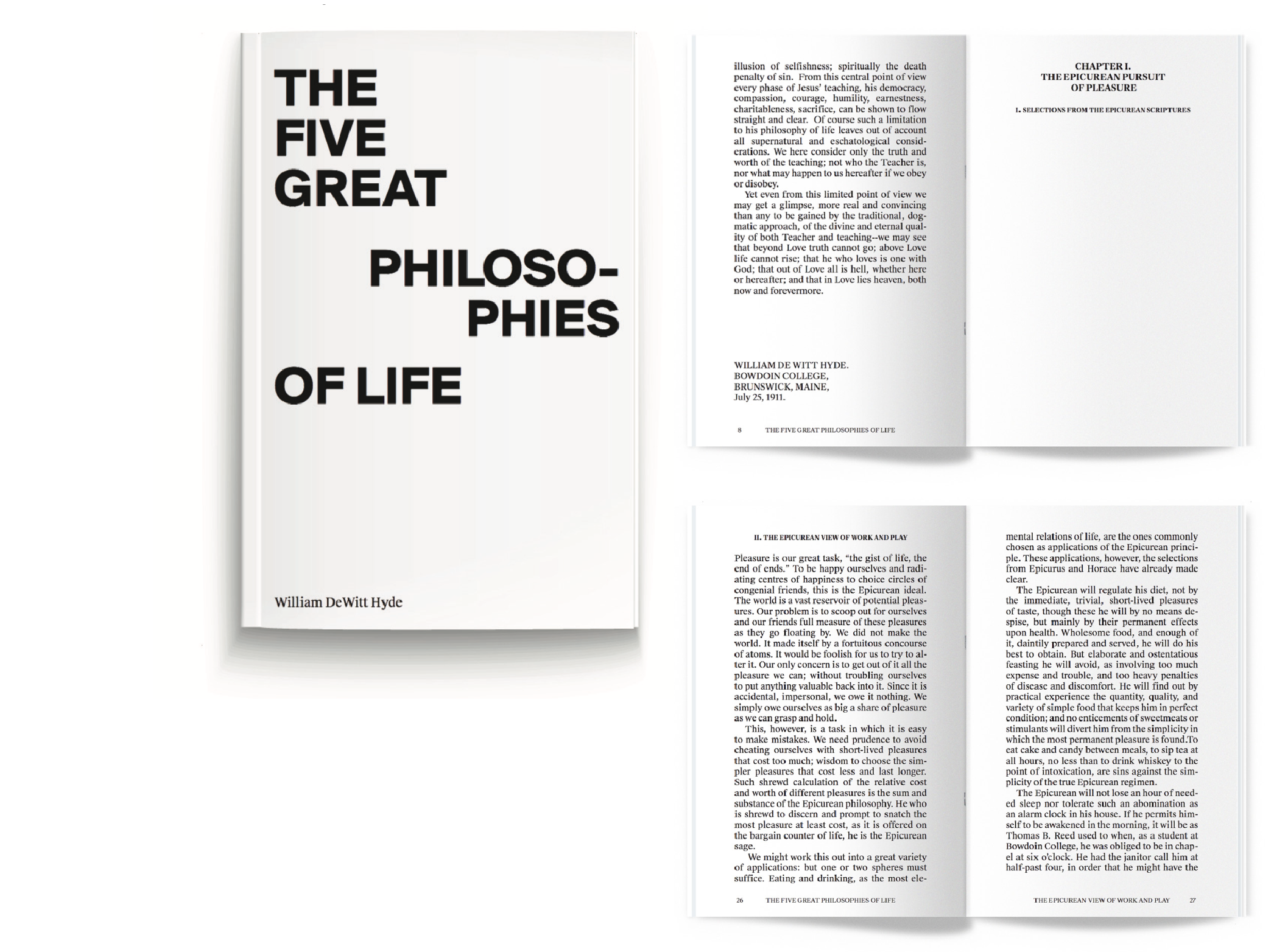A typographic pocket-book design of The Five Great Philosophies of Life by William DeWitt Hyde. 2016.