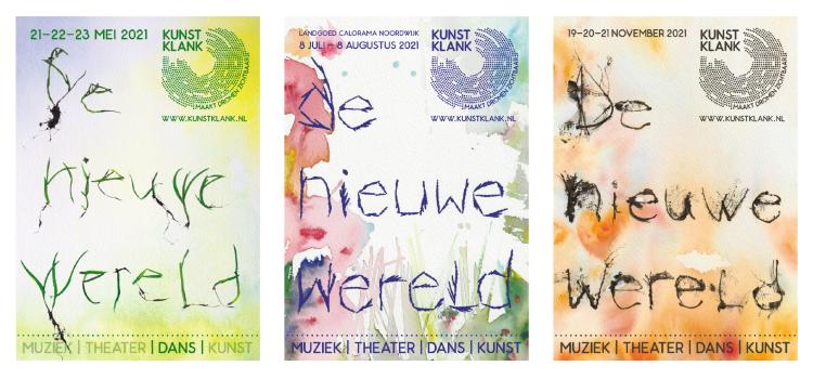 "A poster series designed for the spring, summer and autumn program of the Kunstklank theatre festival ""De Nieuwe Wereld / The New World"". (www.kunstklank.nl) In collaboration with Daniël Tavenier (www.danieltavenier.com). 2021."